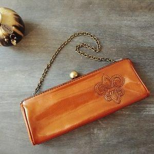 Gianni Bini Patent Leather Clutch w/ Fleur de lis
